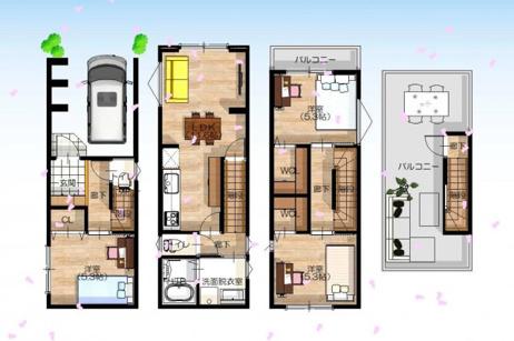 【参考プラン図】-自由設計対応- 3階建て×3LDK×WIC×屋上のある暮らし♪
