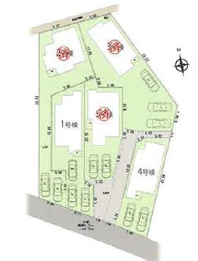 【区画図】豊田市鴛鴨町 1号棟〈仲介手数料無料〉寿恵野小 末野原中