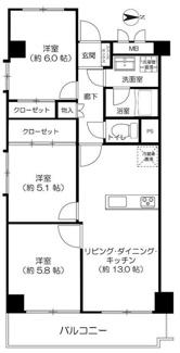 3LDK、専有面積70.74m2、バルコニー面積7.58m2 カウンターキッチンに間取り変更しております。