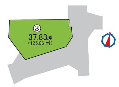 敷地面積125.06㎡(約37.83坪)!日当たり・通風・開放感良好な南東角地に位置しております。
