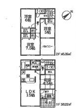 【区画図】新築 全2棟 加茂市柳町4LDK 1号