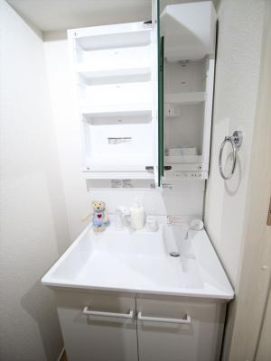 朝の身支度には欠かせない独立洗面化粧台。同タイプの別室の写真