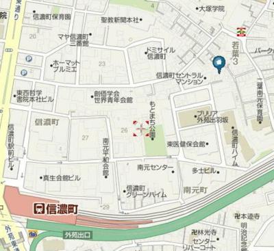 【地図】ベルハイツ信濃町