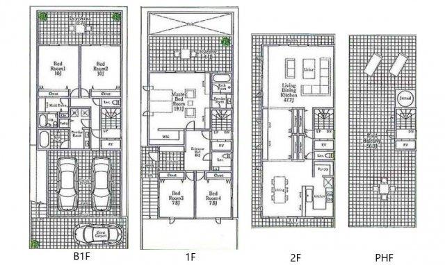 建物参考間取り 延床面積292㎡、LDK47帖、主寝室19帖、ルーフバルコニー56帖、並列2台分ビルトインシャッターガレージ