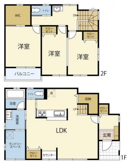 1号棟 3LDK+パントリー+WIC ランドリースペースで室内干しもできますよ。