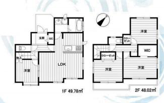 3499万円、4LDK、土地面積125.5m2、建物面積97.8m2  4LDK+ウォークインクローゼット+シューズインクローゼット