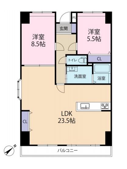 【間取り図】LDK23.5帖 洋室8.5帖・5.5帖の2LDK