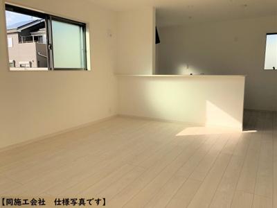 【同社施工事例写真】インテリアの映える21帖LDK!使い勝手を考え心地よい開放感!陽光ふりそそぐ明るい室内は、光と風を呼び込む南向きです