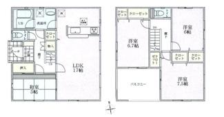 建物面積98.82平米 LDK17帖の4LDK インナーバルコニー