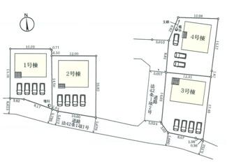 甲府市新田町全4棟区画図 3号棟は南西角地で日当たり良好