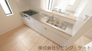 使いやすいステンレストップのキッチン 浄水器一体型水栓