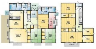 建物面積174.72平米。キッチン・お風呂・洗面各2室の2世帯住宅向け!トイレ3ヶ所。