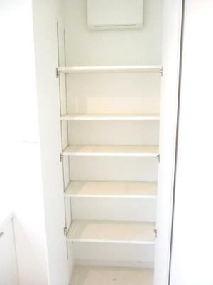 洗面所には棚があり、タオルや備品のストックに役立ちます。