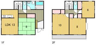 建物面積113.19平米。全室2面採光。主寝室10帖以上。
