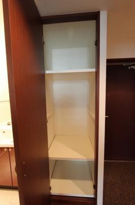 玄関脇に物置きがあり、掃除用具や使用頻度の少ないもの等の収納にも最適
