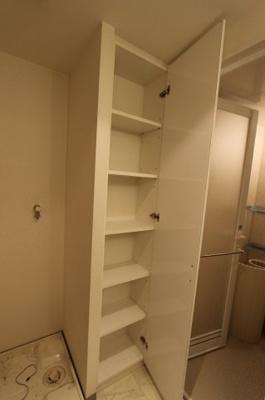 脱衣所にもたっぷりの収納があり、タオル等の収納にもぴったりです。