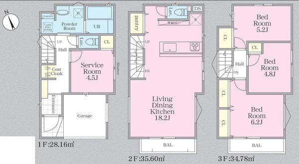 土地面積72.07平米 建物面積108.47平米 (車庫部分9.93平米含む) 各室収納付き4LDK・人気の対面式キッチン♪