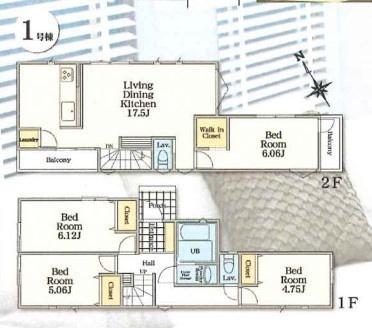 土地面積84.28平米 建物面積91.08平米 4LDK! 各室二面採光で陽当り良好です! WICなど収納豊富な間取りが魅力です♪