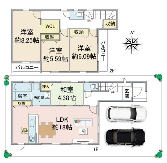 ・駐車2台可能 ・LDK18.0帖以上にカウンターキッチン ・リビングに和室隣接の使い勝手の良い間取り。 ・ウォークインクローゼット ・2面バルコニーで通風・採光良好です。