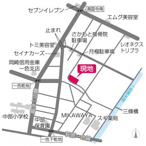 【地図】西尾第50一色町(シリーズ名:リーブルガーデン)全6戸