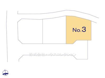【区画図】土浦市神立町 新築戸建 3号棟