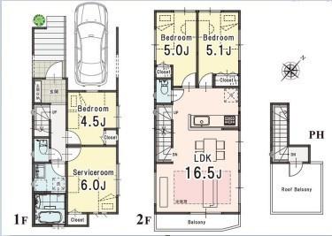 土地面積74.05平米 建物面積103.65平米 (車庫部分11.8平米含む) 4LDK!!ルーフバルコニー・床暖房などの 充実した設備が魅力の物件です♪