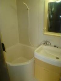 バストイレ同室のため浴槽は小さめ。シャワー派の方におすすめです