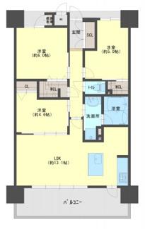 専有面積:64.48㎡(約19.50坪) 3LDK+WTC+WIC+専用備蓄倉庫