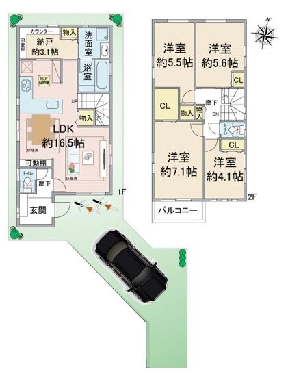 2階建4SLDK LDK約16.5帖+収納(2面床暖房) 納屋(ワークスペース)約3.1帖 ウォークインクローゼット ※現況と図面が異なる場合、現況を優先します。