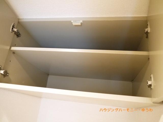 キッチン上部の収納棚、あるとやっぱり便利です。