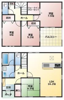 高浜市神明町第4新築分譲住宅2号棟間取りです。2号棟間取りは洋室に便利なウォークインクローゼットがあります。