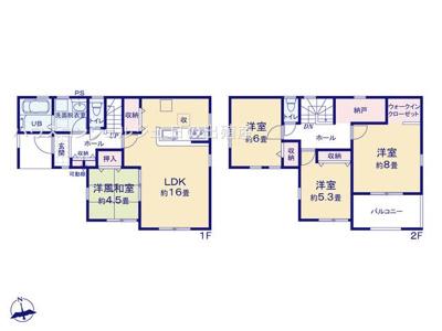 【区画図】名古屋市中川区長須賀2丁目2108【仲介料無料】新築一戸建て 2号棟