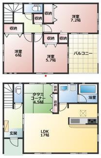 高浜市神明町第4新築分譲住宅4号棟間取りです。LDKと一体利用可能なタタミコーナー付き!