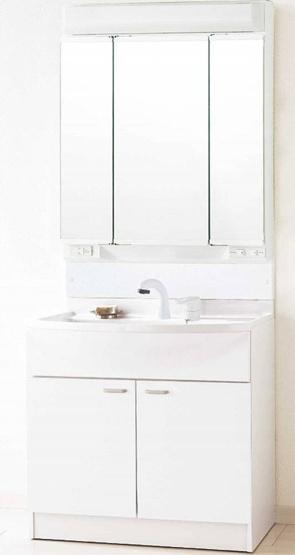 三面鏡のついた洗面台 朝の身支度も楽々