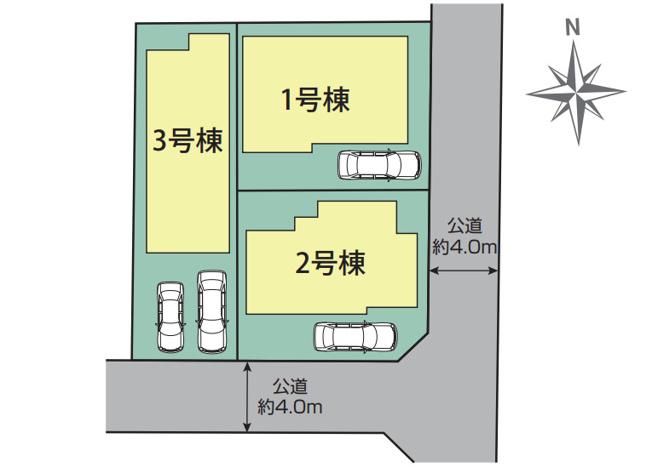 【区画図】新築 茅ヶ崎市松浪2丁目 1号棟