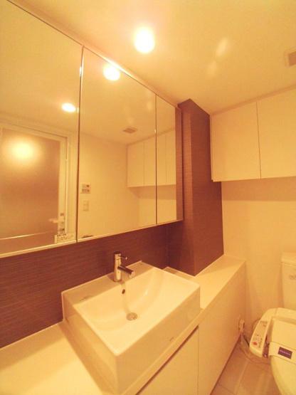 大きな三面鏡の洗面台です。【レジディア文京本駒込】