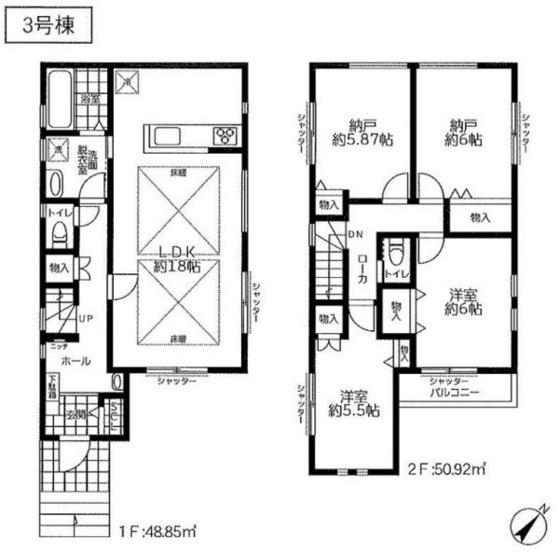 土地面積98.19平米 建物面積99.77平米4LDK♪  キッチンと行き来しやすい2WAY動線の洗面室、 家事動線をしっかり配慮された間取りになっております♪