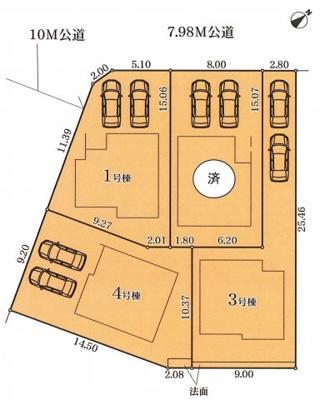 【区画図】名古屋市天白区高坂町1【仲介手数料無料】新築一戸建て 4号棟