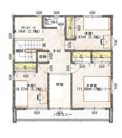 【2階】主寝室:7帖/洋室①:5.2帖/洋室②:5.2帖/フリースペース:2.5帖