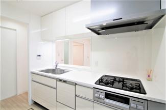 新品のシステムキッチンです♪対面式でお料理を作りながらリビングを見渡せます!!食器洗い乾燥機付きで忙しい奥様の強い味方ですね(^^)