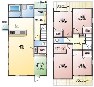 碧南市東浦町第2新築分譲住宅2号棟間取りです。タタミコーナーがあるリビングは合計21.5帖!2階洋室は全室からバルコニーに出られる為、布団干しには最適です。
