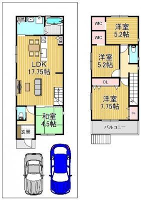 新築参考プラン1号地(延床95.98m2)