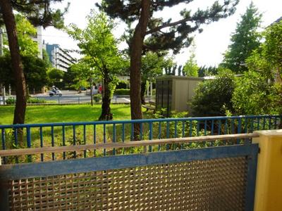 お部屋の前は公園です。