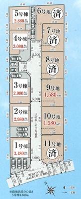 1号棟はカースペース並列3台駐車可能。東南角地につき陽当たり・通風良好です♪