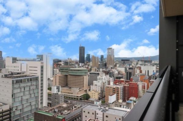 【バルコニー】23階からの景色です!東には大阪城が望めます!