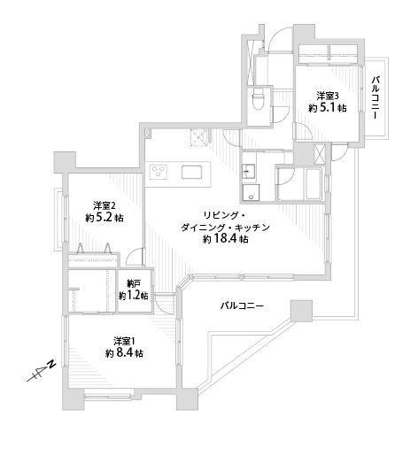 南区大楠1丁目中古マンション 3LDK 5階部分