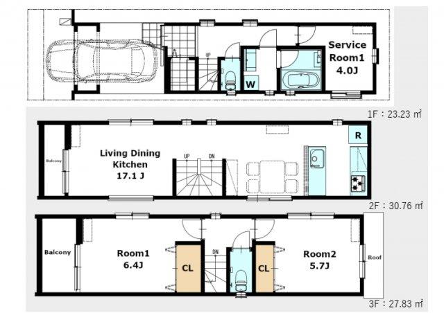 建物プラン図です。LDKが17.1帖、主寝室が6.4帖ございます!