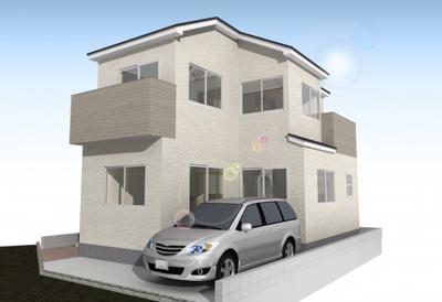 【外観パース】池田市緑丘1丁目 新築戸建 1号棟