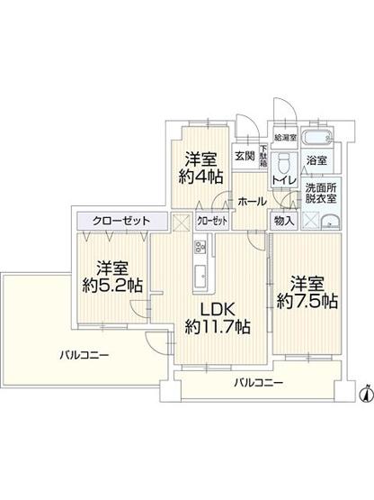 西区下山門1丁目 中古マンションオール電化 3LDK 7階