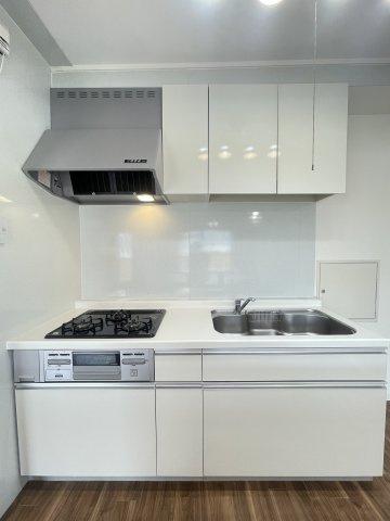 お料理に大変便利なシステムキッチンです!カウンターテーブル、吊り戸棚の収納力があり下の収納スペースは引き出しタイプなので奥の方でも楽に取り出し可能です。スムーズな家事をサポートします♪